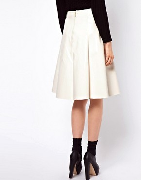 Image 2 ofASOS Midi Skater Skirt In High Shine