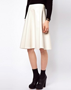 Image 4 ofASOS Midi Skater Skirt In High Shine
