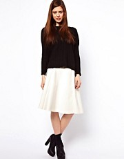 ASOS Midi Skater Skirt In High Shine