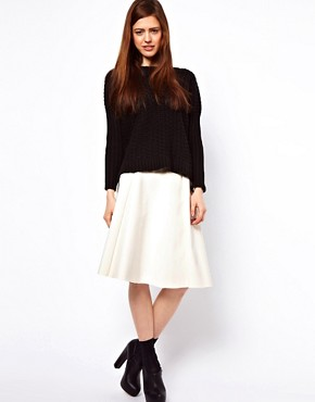 Image 1 ofASOS Midi Skater Skirt In High Shine
