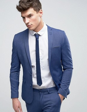 ASOS Super Skinny Suit Jacket In Denim Twist