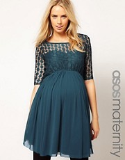 ASOS Maternity Skater Dress In Spot Mesh