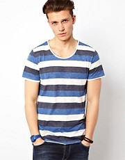 Solid T-Shirt With Three Colour Stripe