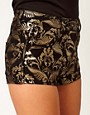 Image 3 ofASOS Denim Hotpants In Metallic Baroque Print