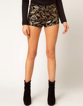 Image 4 ofASOS Denim Hotpants In Metallic Baroque Print