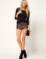 ASOS Denim Hotpants In Metallic Baroque Print