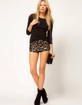 Image 1 ofASOS Denim Hotpants In Metallic Baroque Print