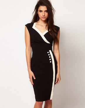 Image 1 ofHybrid Button Side Vintage Pencil Dress