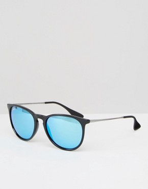 Ray-Ban Round Erika Sunglasses with Blue Flash Lens