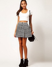 Motel Stripe Pleated Skirt