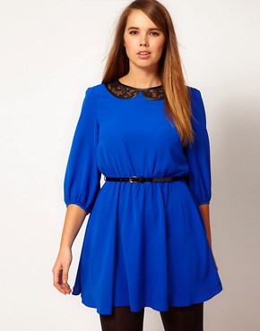 Image 1 ofASOS CURVE Skater Dress With Lace Peter Pan and Belt