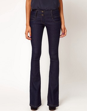 Image 4 of ASOS Super Sexy Flare Jeans with Stitch Detail #17