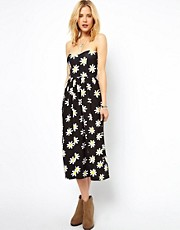 ASOS Midi Bandeau Sundress in Daisy Print