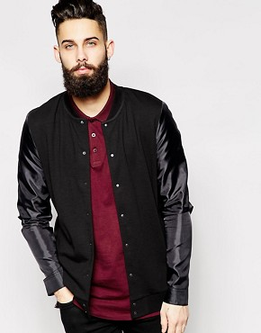 ASOS Bomber Jacket In Jersey With Lightweight Woven Sleeves