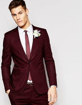 ASOS Skinny Suit Jacket In Poplin In Red