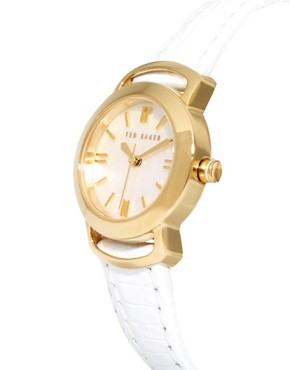 Image 4 ofTed Baker Round Face White Leather Strap Watch