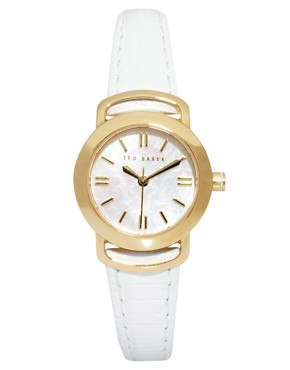 Image 1 ofTed Baker Round Face White Leather Strap Watch