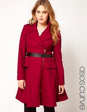 Esclusiva ASOS CURVE - Cappotto peplo con cintura