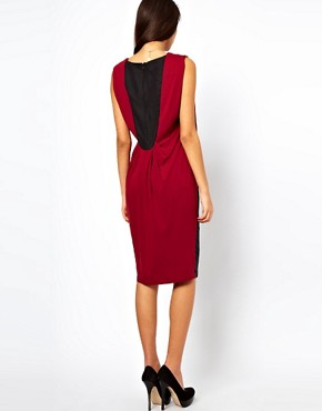 Image 2 ofASOS Pencil Dress In Colourblock With Drape Jersey Top