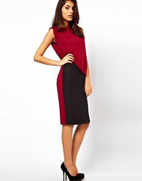 Image 4 ofASOS Pencil Dress In Colourblock With Drape Jersey Top