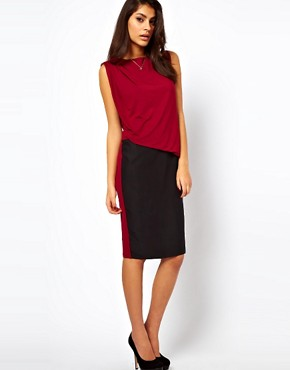 Image 1 ofASOS Pencil Dress In Colourblock With Drape Jersey Top