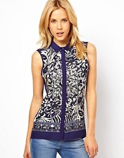 ASOS Sleeveless Shirt In Scarf Print