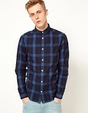 WESC Shirt Eric Long Sleeve Indigo Check