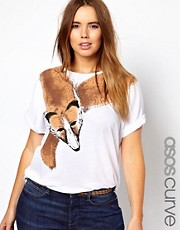 ASOS Curve - T-shirt con collo di volpe stampato