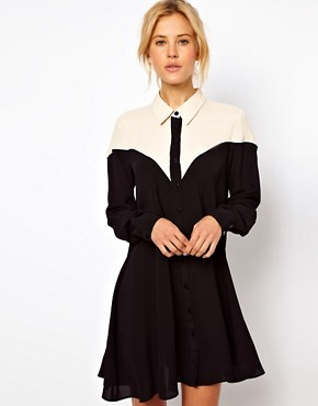 Image 1 ofASOS Shirt Dress With Colour Block Panels
