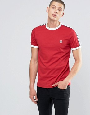 Fred Perry Ringer T-Shirt With Taped Sleeves In Blood
