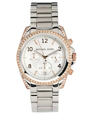 Michael Kors Silver &amp; Rose Gold Chronograph Watch