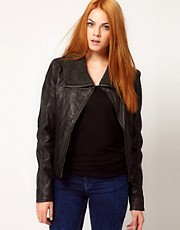 Barneys Originals Leather Jacket With Faux Sheepskin Lining