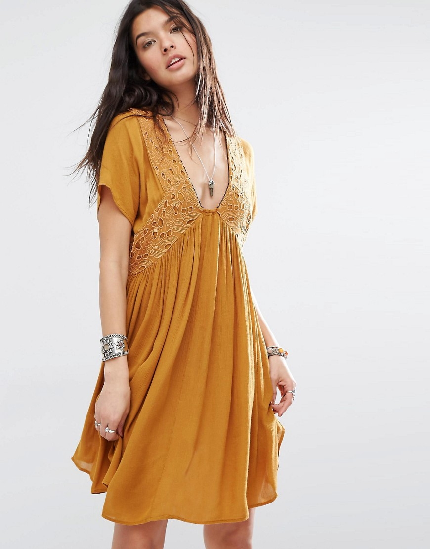 Mango Plunge Front Embroidered Smock Dress - Brown
