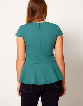 Image 2 ofASOS CURVE Jersey Top With Peplum Hem