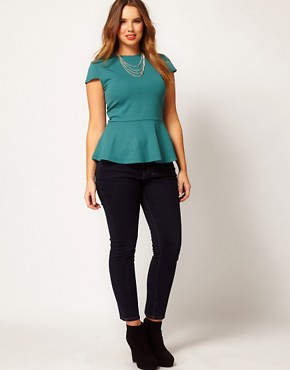 Image 4 ofASOS CURVE Jersey Top With Peplum Hem