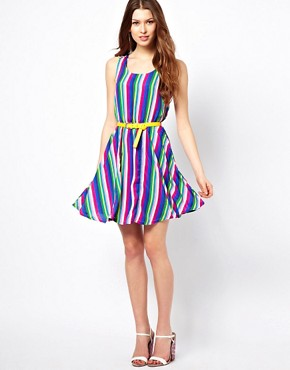 Image 4 ofYumi Striped Dress With Belt