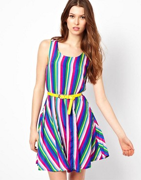 Image 1 ofYumi Striped Dress With Belt