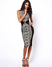 ASOS Pencil Dress With Animal Print Panels