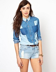 Warehouse Denim Colour Block Shirt