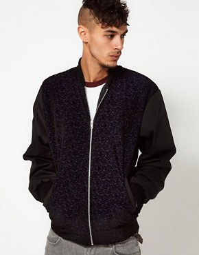 Image 1 ofReclaimed Vintage Varsity Jacket with Velvet Panel