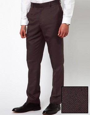 Image 1 ofASOS Slim Fit Smart Trousers in Herringbone