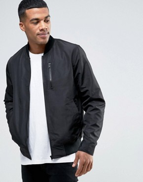 ASOS Bomber Jacket With Zip Chest Pocket In Black
