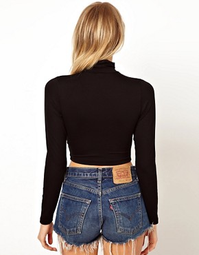 Image 2 ofASOS 90&#39;s Rollneck Crop Top with Long Sleeve