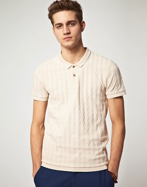 Image 1 of ASOS Polo Shirt With Cable Detail