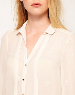 Image 3 ofOasis Embroidered Butterfly Blouse