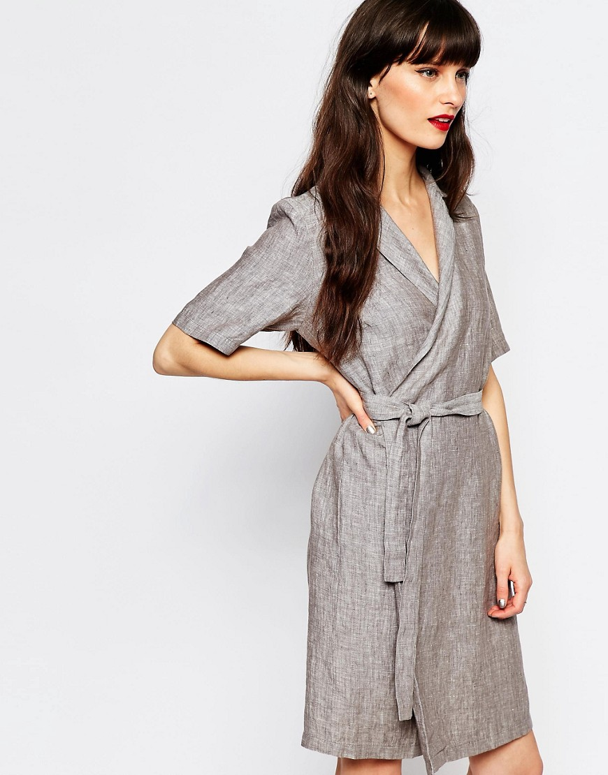 Just Female Genova Wrap Shirt Dress - Anthracite melange