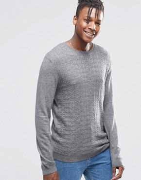 ASOS Cable Jumper in Merino Wool Mix