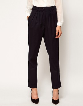 Image 4 ofASOS WHITE Peg Trousers with Pleat Front