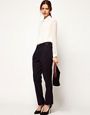 ASOS WHITE Peg Trousers with Pleat Front