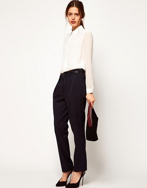 Image 1 ofASOS WHITE Peg Trousers with Pleat Front